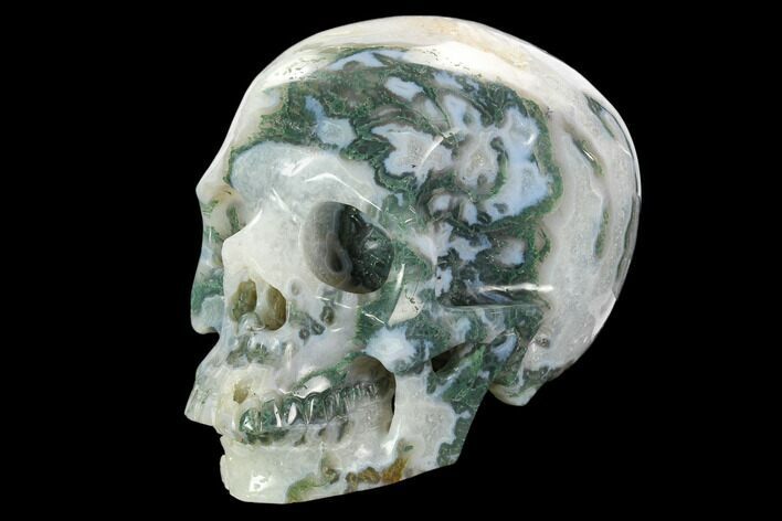 "6.25"" Realistic, Polished Moss Agate Skull"