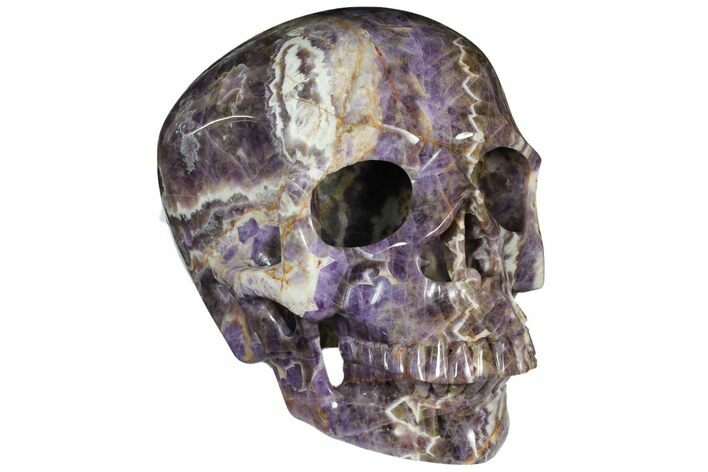 "9.8"" Realistic, Hollowed-Out Chevron Amethyst Skull"