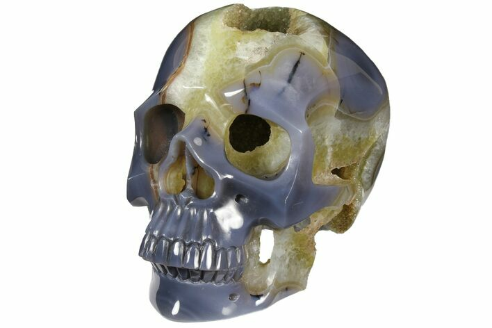 "8.1"" Polished Blue Agate Skull With Quartz Crystal Pocket -Sale Price"