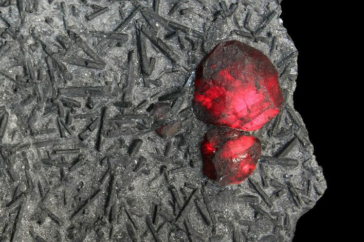 "2.1"" Plate of Two Red Embers Garnet in Graphite - Massachusetts"
