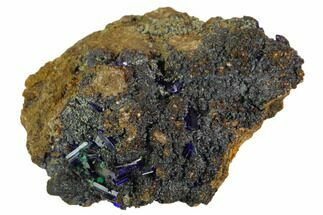 "Buy 1.8"" Sparkling Azurite Crystals With Malachite - Zacatecas, Mexico - #126988"