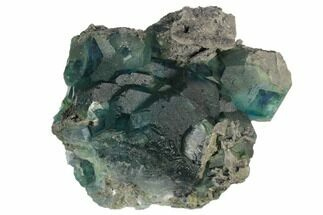 "Buy 4.4"" Large Blue-Green Fluorite Crystals on Sparkling Quartz - China - #128809"