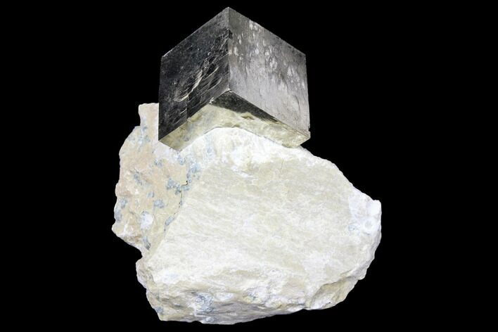 ".85"" Shiny, Natural Pyrite Cube In Rock - Navajun, Spain"