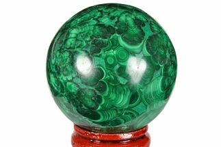 "Buy 1.85"" Flowery, Polished Malachite Sphere - Congo - #131836"