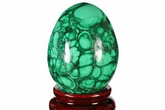 "2.25"" Flowery, Polished Malachite Egg - Congo For Sale, #131867"