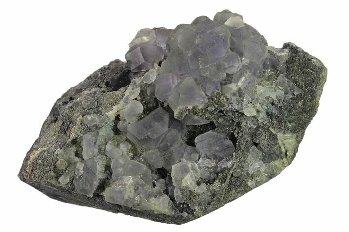 "3.5"" Green Fluorite with Purple Core on Sparkling Quartz - China"