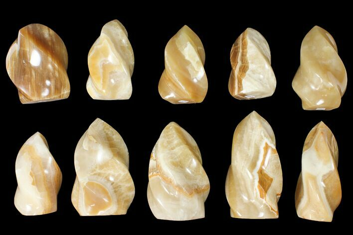 "Wholesale Lot: 3-5"" Polished Calcite ""Flames"" - 10 Pieces"