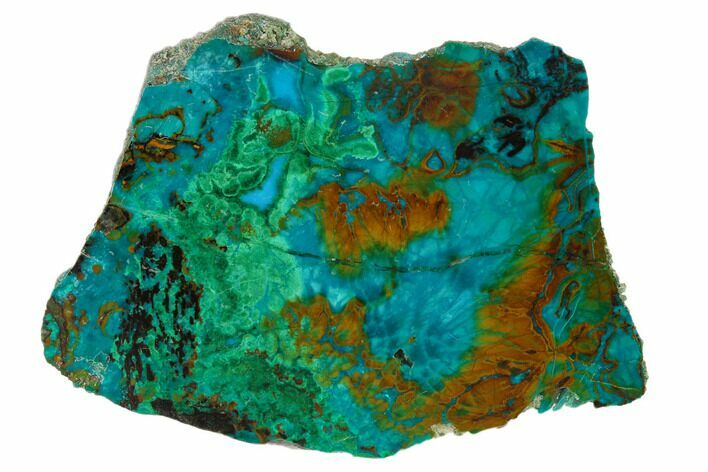 "2.4"" Polished Chrysocolla & Plume Malachite - Bagdad Mine, Arizona"