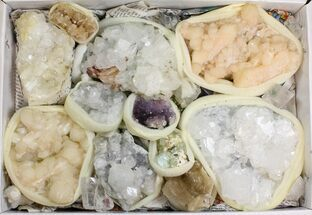 Mixed Indian Mineral & Crystal Flat - 15 Pieces For Sale, #138527