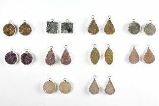 Wholesale Lot: Druzy Quartz Pendants/Earrings - 10 Pairs For Sale, #140825