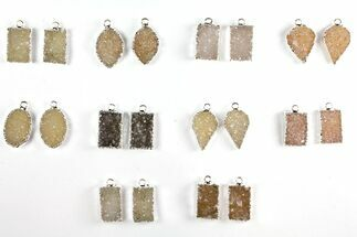 Wholesale Lot: Druzy Quartz Pendants/Earrings - 10 Pairs For Sale, #140828