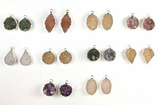 Buy Wholesale Lot: Druzy Quartz Pendants/Earrings - 10 Pairs - #140833