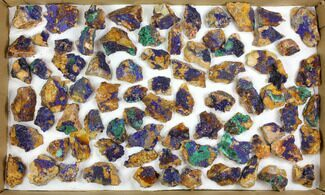 Wholesale Flat: Sparkling Azurite & Malachite Clusters - 80 Pieces For Sale, #140819