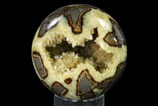 "3.7"" Crystal Filled, Polished Septarian Sphere - Utah For Sale, #149927"