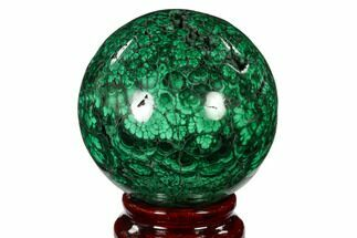 "2.45"" Flowery, Polished Malachite Sphere - Congo For Sale, #150245"