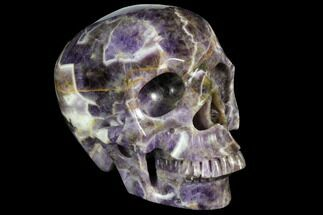 "7"" Realistic, Carved Chevron Amethyst Skull  For Sale, #150941"