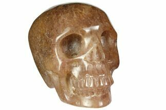 "Buy 3"" Realistic, Carved Strawberry Quartz Crystal Skull - #150982"