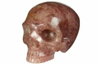 "3"" Realistic, Carved Strawberry Quartz Crystal Skull For Sale, #150983"
