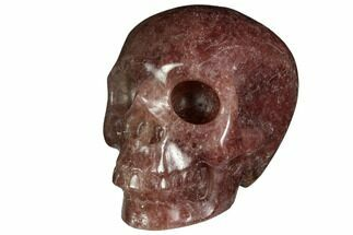 "3"" Realistic, Carved Strawberry Quartz Crystal Skull For Sale, #150986"