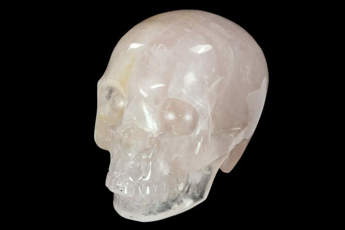 "3"" Realistic, Polished Brazilian Rose Quartz Crystal Skull"