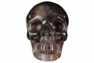 "Buy 3.1"" Realistic, Carved, Banded Purple Fluorite Skull - #151021"