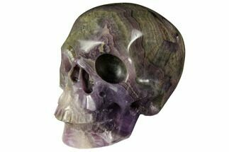"Buy 2.9"" Realistic, Carved, Banded Purple Fluorite Skull - #151027"