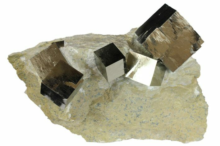 Six Natural Pyrite Cubes in Rock - Navajun, Spain