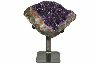 "8.5"" Amethyst Geode Section With Metal Stand - Uruguay For Sale, #152363"