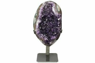 "8.9"" Amethyst Geode Section With Metal Stand - Uruguay For Sale, #153596"