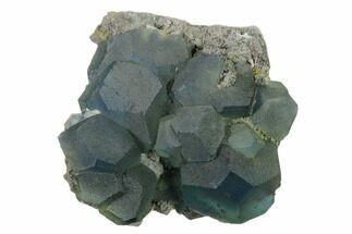 "3.6"" Blue-Green Cuboctahedral Fluorite on Sparkling Quartz - China For Sale, #160697"