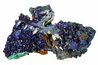 "Buy 3.6"" Sparkling Azurite Crystals with Malachite - Laos - #161590"
