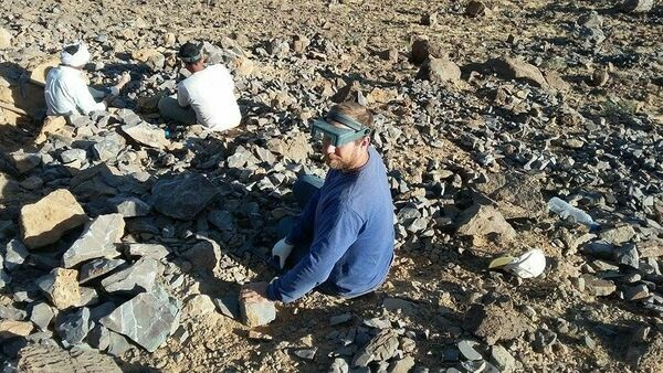 Collecting trilobites at the Jorf locality in 2015