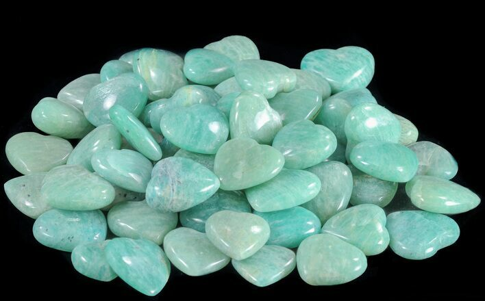Small Polished Amazonite Hearts - Photo 1