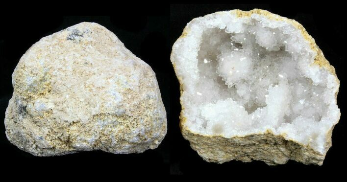 "4 - 5"" Sparkling Pre-Cracked Quartz Geodes From Morocco - Photo 1"