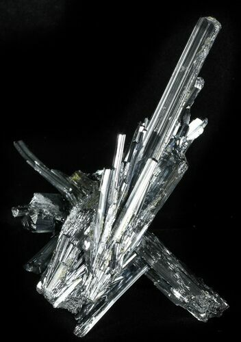 "Sharp, 4"" Metallic Stibnite Cluster - China"