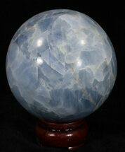 "3.27"" Polished Blue Calcite Sphere For Sale, #32126"