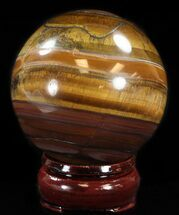 "2.6"" Polished Tiger Iron (Tiger's Eye) Sphere For Sale, #37610"