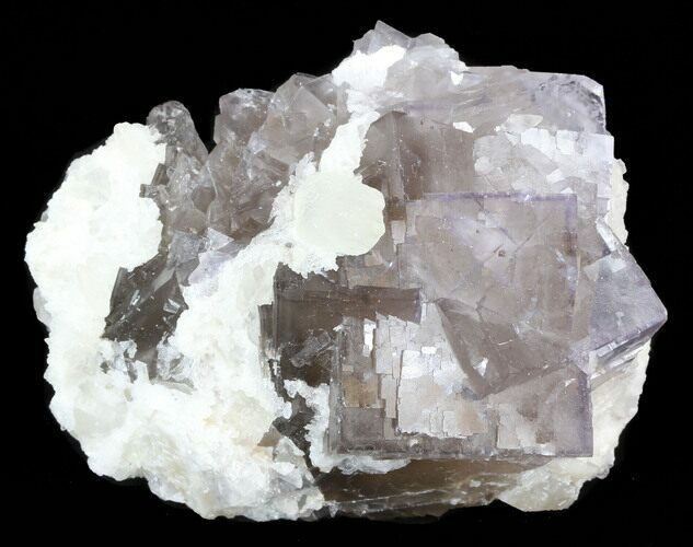 "3.2"" Fluorite Cube Cluster with Calcite Crystals - Pakistan"