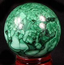 "Gorgeous 2.5"" Polished Malachite Sphere - Congo For Sale, #39398"