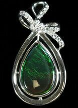 Ammolite Pendant With Sterling Silver & White Sapphires For Sale, #40172