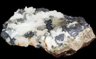 "Buy 3.9"" Cerussite Crystals with Bladed Barite on Galena- Morocco - #44785"