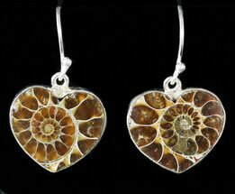 Buy Fossil Ammonite Heart Earrings - Sterling Silver - #48736