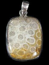 20 Million Year Old Fossil Coral Pendant - Sterling Silver For Sale, #48818