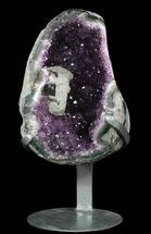"9.6"" Amethyst Geode With Calcite On Metal Stand - Uruguay For Sale, #51299"