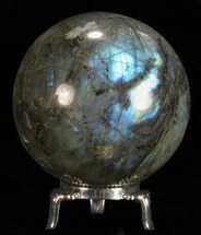 "2.7"" Flashy Labradorite Sphere - With Nickel Plated Stand For Sale, #53576"