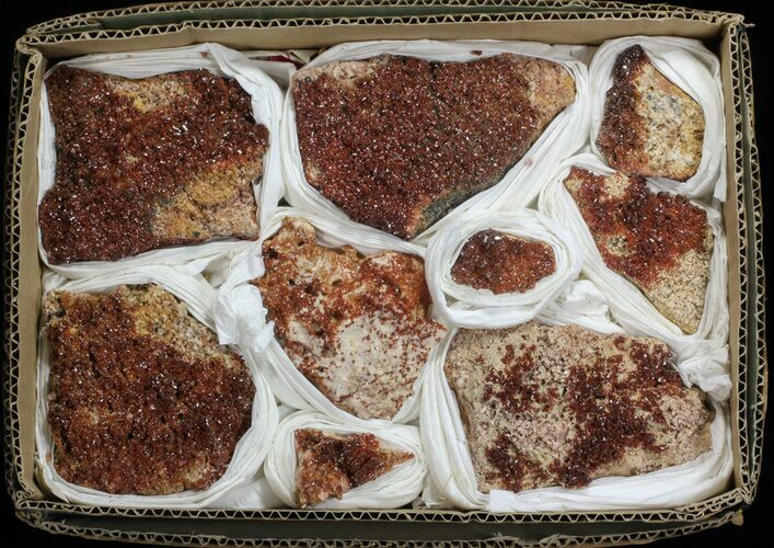 Wholesale Lot - Quality Vanadinite Crystals on Barite - 9 Pieces