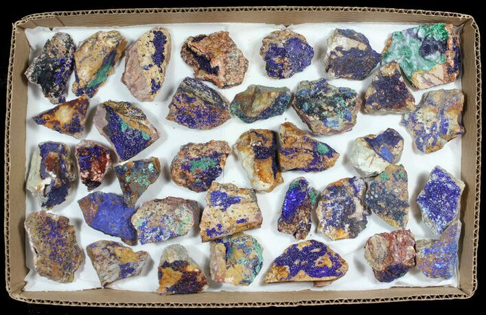 Sparkling, Drusy Azurite & Malachite Wholesale Lot - 34 Pieces