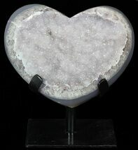 "5.7"" Polished, Agate Heart Filled with Druzy Quartz - Uruguay For Sale, #62834"