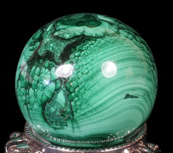 "1.8"" Polished Malachite Sphere - Congo"