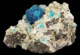 Vibrant Blue Cavansite Clusters on Stilbite - India - #64814-2